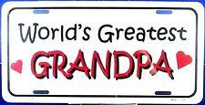 Novelty License plate World's Greatest Grandpa Grandparents new aluminum auto