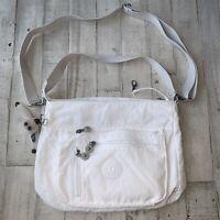 Kipling White Nylon Crossbody Messenger Bag *NICE!* Shoulder w/ Beige Strap