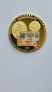 2009 COMMEMORATIVE  LINCOLN $500 BANK NOTE PROOF GOLD LAYERED 24K 50MM 54g W COA