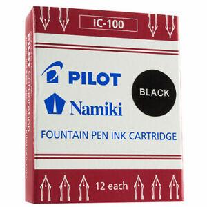 Pilot Namiki Fountain Pen Ink Cartridge in BLACK - Pack of 12 - NEW N69100
