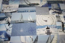 Baumwollstoff Deko Stoff Digitaldruck Maritim Marine Segelboote 1m