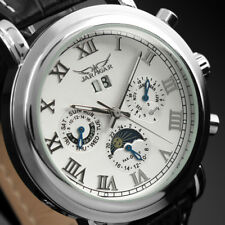 Men's Watch Moon Phase White Dial Luxury Silver Stainless Steel Case Man Date