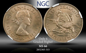 1964 NEW ZEALAND 1 SCHILLING NGC MS 66 ONLY 4 GRADED HIGHER #B