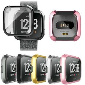 Silicone Protective TPU Frame Cover Case with Screen Protector For Fitbit Versa