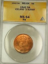 1942 Iceland 5A Five Aurar Copper ANACS MS-64 RB Red-Brown (Better Coin) (A)
