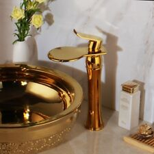 Round Gold Ceramic Basin Bowl Lavatory Sinks Waterfall Mixer Faucet Drain Set