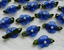 """1""""(W) Royal Blue Organza  Ribbon Flowers with Beads Appliques - 36 pcs (R0119DR)"""