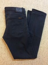 Mens NUDIE W33 L30.5 Long John Black Stretch Denim Jeans Superb