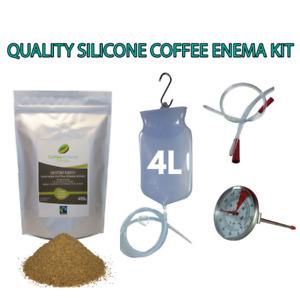 COFFEE ENEMA STARTER KIT  - QUALITY SILICONE ENEMA BAG 4 LITRE GERSON GRINDS