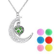 Essential Oil Diffuser Perfume Silver Aromatherapy Moon Pendant Necklace Jewelry