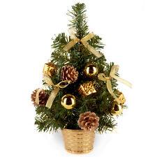 30cm Artificial Christmas Tree Silver Flecks, Gold Decorations & Pine Cones