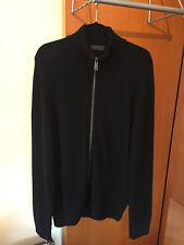 (1) Prada Milano Men's Black Wool/Cashmere/Goat Skin Zip Sweater - Prada 54