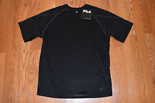 Nwt Mens Fila Black Exercise Fitness Running Wicking Shirt Size M Medium