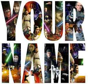 STAR WARS NAME LETTER STICKERS WALL DECO DECAL 4 SIZES PERSONALISED lot SW