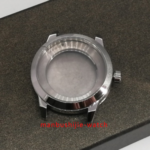 41mm Sapphire brushed Stainless steel watch Case Fit 2824/2836 8215 movements
