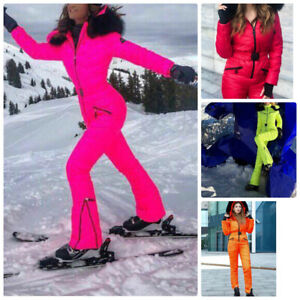 Neon Winter Ski Suit Overall Jumpsuit Pink Green Yellow Orange Red Snowsuit Fur