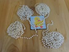 Christmas Bead Garland 4 Strands White Pearl 33 Feet Total