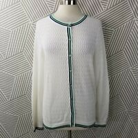 Lands End Cardigan Sweater Stretch Supima Cotton size XL 18 open knit White