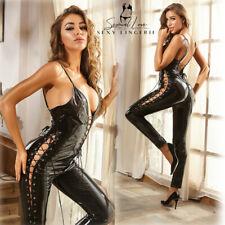 Tuta Catsuit Mistress Clubwear Cavallo Aperto Laterale Dominatrice Latex PU Sexy