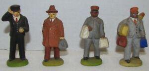 Vintage Railroad Train Figures: Conductor, Black Porters, Passenger, composition