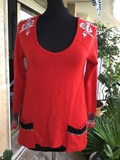 Tres Beau Pull Laine Rouge Modele Morillon Chacok 38 Tbe