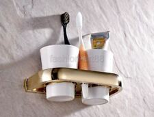 Gold Color Brass Wall Mounted Bathroom Double Cup Toothbrush Holder fba846