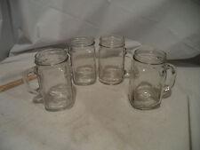 "Lot of 4 "" Golden Harvest""Handled Drinking 16 oz. Glasses / Jars / Mugs-Plain"