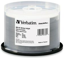 50-Pak 25GB Verbatim 6X =WHITE INKJET HUB PRINTABLE= BLU-RAY BD-R's, #97339