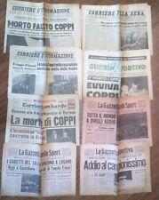 TUTTA LA STORIA SULLA MORTE DI FAUSTO COPPI ( 8 GIORNALI ORIGINALI D'EPOCA) R@RO