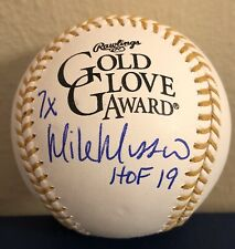 Mike Mussina HOF 19 Yankees Orioles Autographed Gold Glove ROMLB Baseball JSA