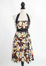 Anthropologie Moulinette Soeurs Mayflower Floral Silk Halter Retro Tea Dress 4