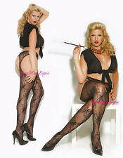Plus Size FLORAL LACE SUSPENDER PANTYHOSE Crotchless Open Back, Open Hips QUEEN