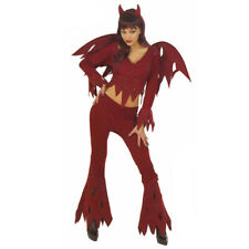 Ladies Sexy Rowdy Devil Halloween Fancy Dress Costume New Dark Red OutfitTop
