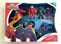 Marvel Super Hero Adventure 3 Pack Motorcycles Iron Man Black Panther Spiderman