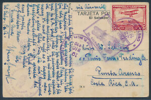 Salvador Flugpost MiF AK Lago Coatepeque 1930 nach Costa Rica (4172)