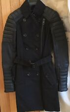 Runway $2.8k Burberry Prorsum Leather Sleeved Black Biker Trench Coat-BNWT, 36