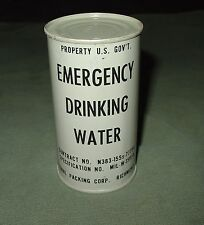 NOS VINTAGE USN USMC USAF PILOTS SURVIVAL KIT GRAY CAN EMERGENCY DRINKING WATER