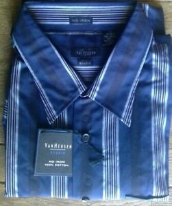 😍  NWT Sz XXL Van Heusen Studio Men's Long Sleeve Shirt Blue Stripe No Iron