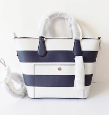 NWT Michael Kors Greenwhich Saffiano Stripe Large Grabbag ~ Navy/Optic white