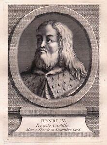 Portrait XVIIIe Henri IV Roi De Castille De Trastamare  Enrique IV de Castilla