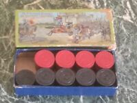 Vintage The Embossing Company Wooden Tournament Checkers Original Box 26 Pieces