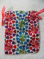 BRIGHTON Fabric Cloth Pouch Jewelry gift Bags HEARTS pink color ribbon
