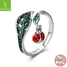 925 Sterling Silver Open Ring Green Leaf Ladybug Dangle Pendant Dating Jewelry