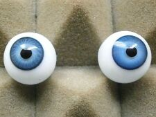 "pair of old glass eyes blue 16 mm/ 0.65""/1930s/vintage"