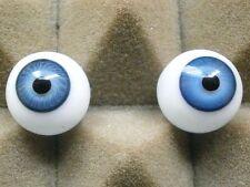 "pair of old glass eyes blue 16 mm/ 0.65""/1930s/vintage"