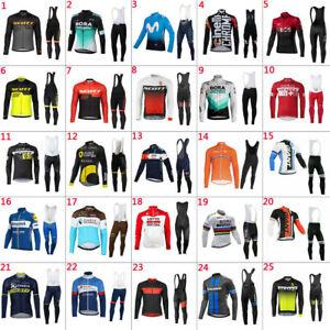 2021 New Mens Team Cycling Jerseys Cycling long Sleeve Jersey And Bib Pants Set