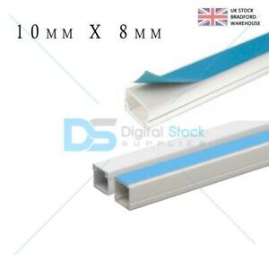 Self Adhesive Mini Trunking White PVC Cable Conduit TV Wire - All Sizes