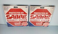 Set of 2 SABRE Home Security Alarm Yard Sign and 5 Window Decal Stickers NEW