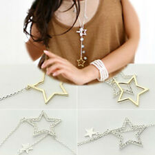 Fashion Womens Silver Gold Crystal Rhinestone Stars Pendant Long Chain Necklace