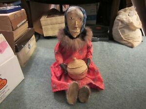 NATIVE AMERICAN HAND MADE DOLL INUIT LADY WITH BASKET